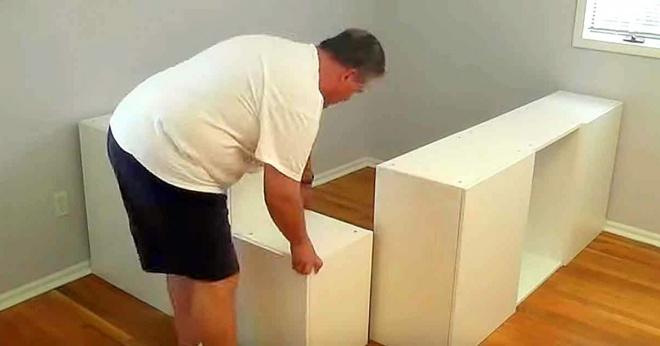 Akciósan megvette a konyhaszekrény elemeket, és összerakott belőle egy szuper ágyat!