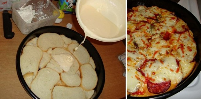 Sajtos pizza 10-12 szelet szikkadt kenyérből